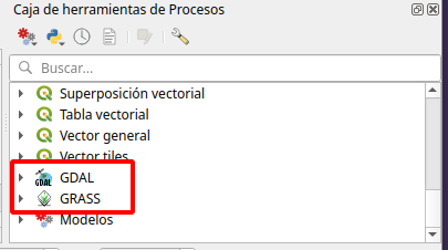 Provedores de procesos de QGIS