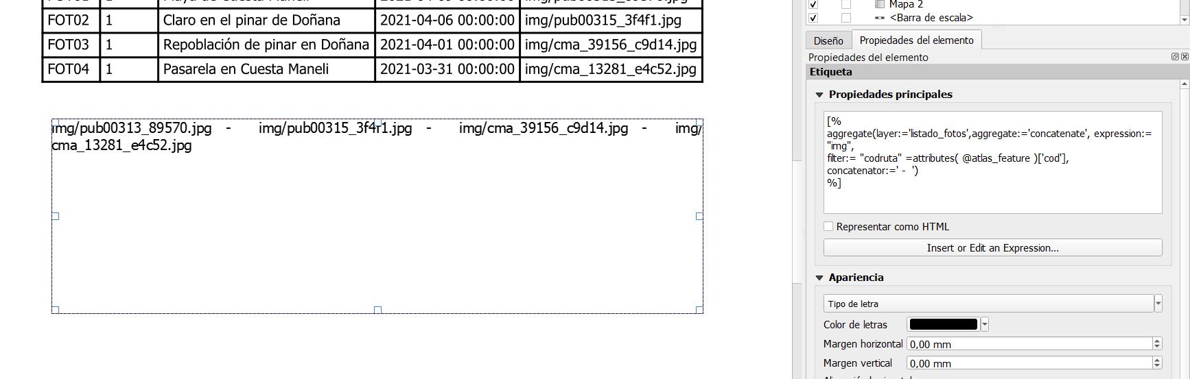 Ejemplo de función aggregate en QGIS