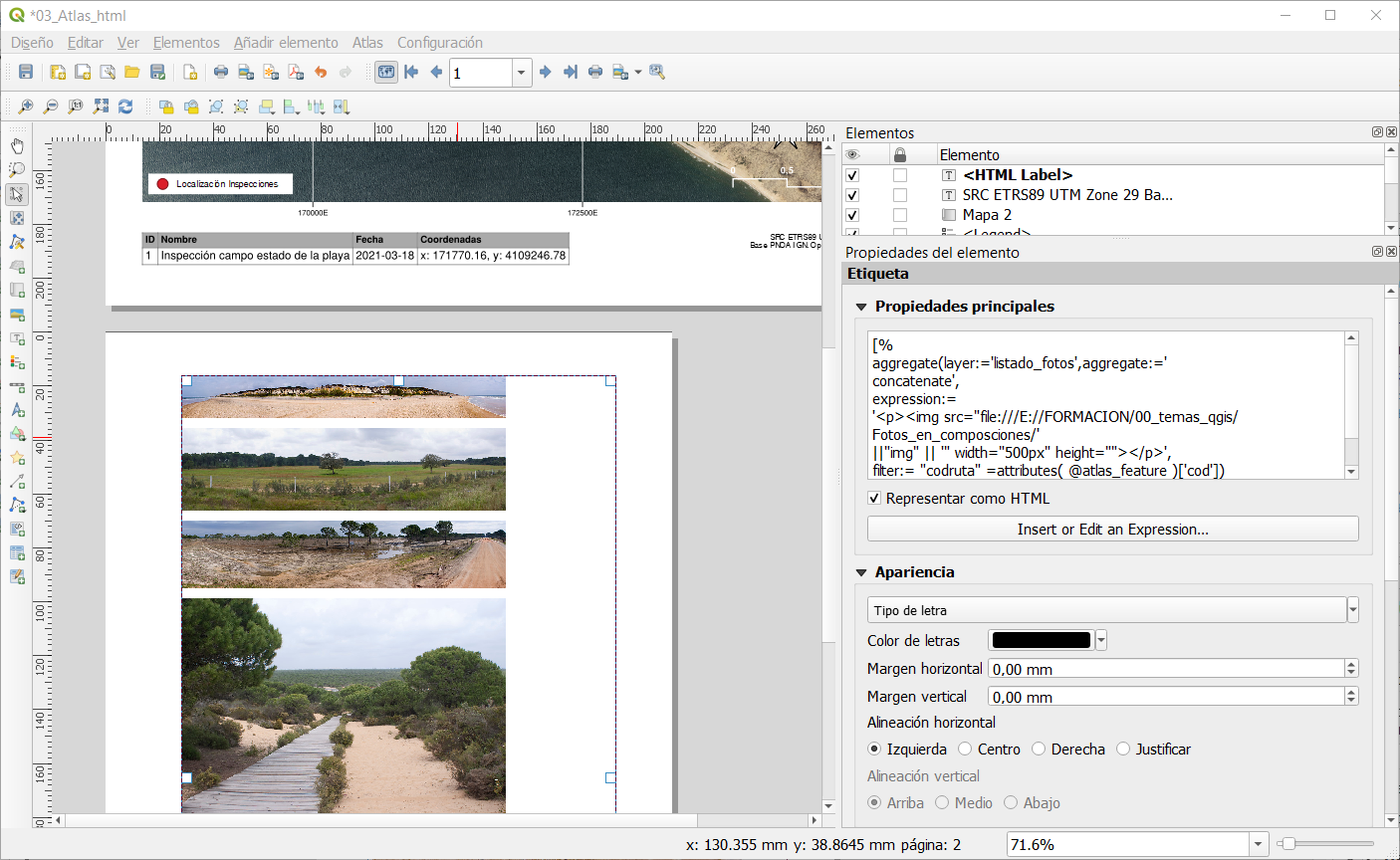 Ejemplo de función aggregate en QGIS con código HTML